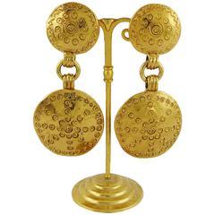 Yves Saint Laurent YSL Ethnic Shield Dangling Earrings