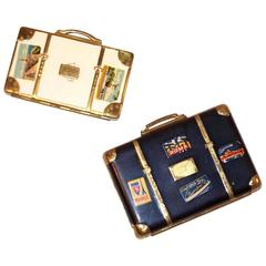 Whimsical 1940's Miniature Suitcase Powder Compacts