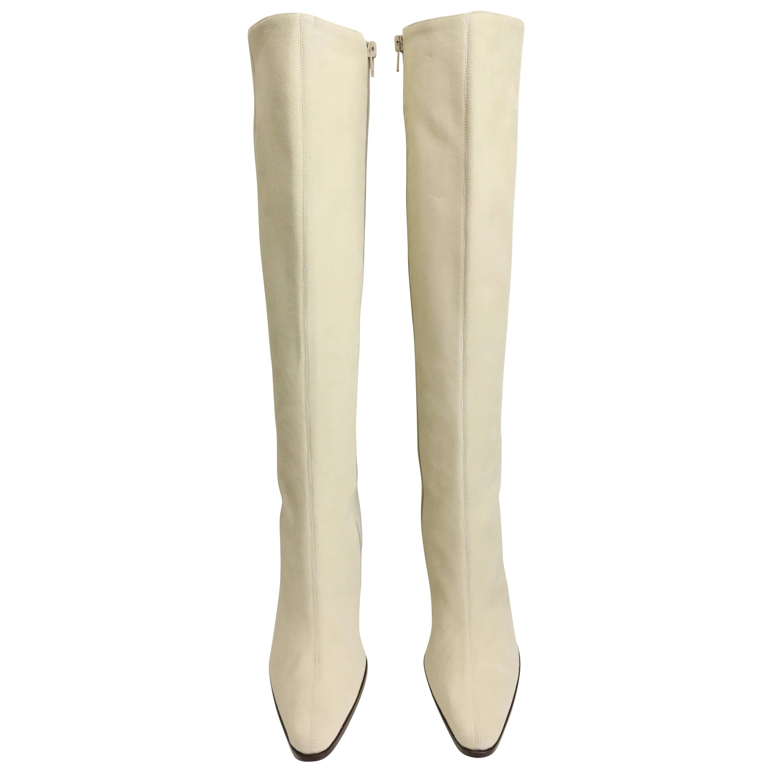 Celine White Suede Long Boots