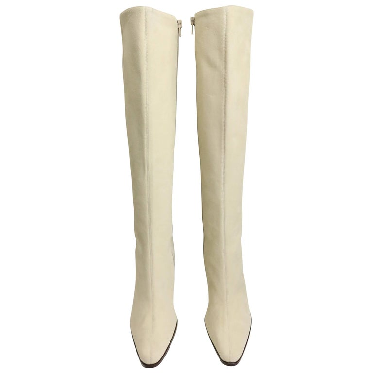 Celine White Suede Long Boots For Sale