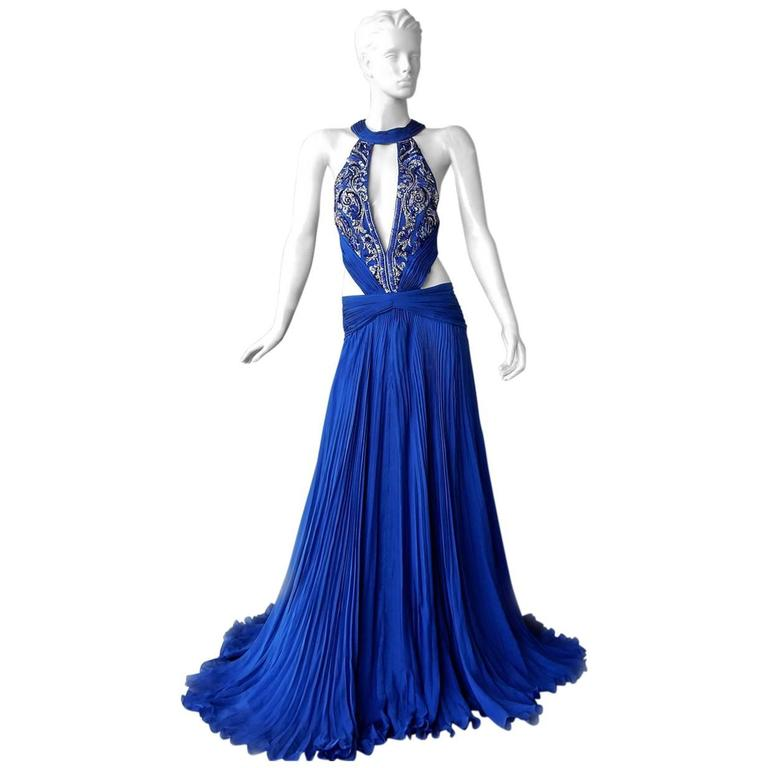 Roberto Cavalli Sapphire Blue Red Carpet Goddess Gown For Sale at ...