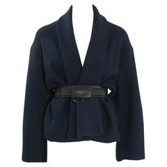Rare Alaia Wool Knit Belted Kimono Jacket