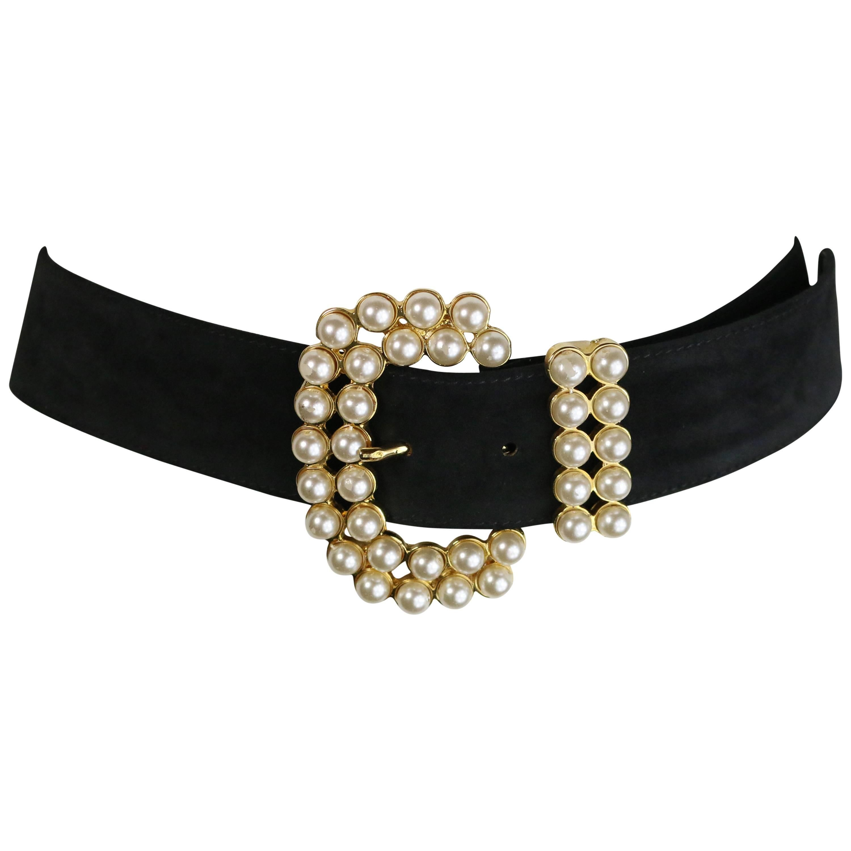 Vintage 80s Faux Pearl Black Suede Belt