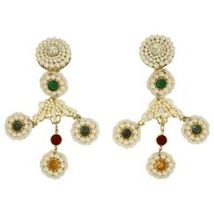 Sharra Pagano Pearl Beaded Gold Toned with Colours Rhinestones Clip-On Earrings