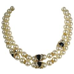 Ciner Gold Gilt Pearl Enamel Necklace New old stock 1980s Never worn