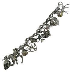 Vintage Sterling Silver Charm Bracelet 1960s