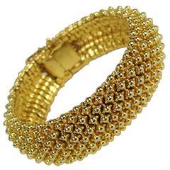Stunning Ciner Wide Gold Tone Bracelet New Old Stock 1980s