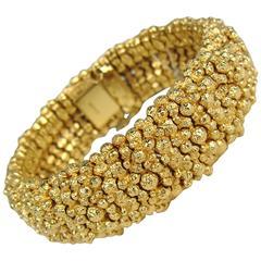 Never Worn 1980's Vintage Ciner Gilt Gold Nugget Bracelet