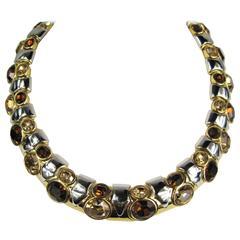 Massive Ciner 1980s Cabochon Multi Stone Necklace Never Worn