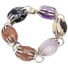 Sterling Silver, Amethyst and Agate Stone Hallmarked Bracelet