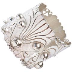 Stunning Hallmarked 980 Silver Cuff Vintage Bracelet