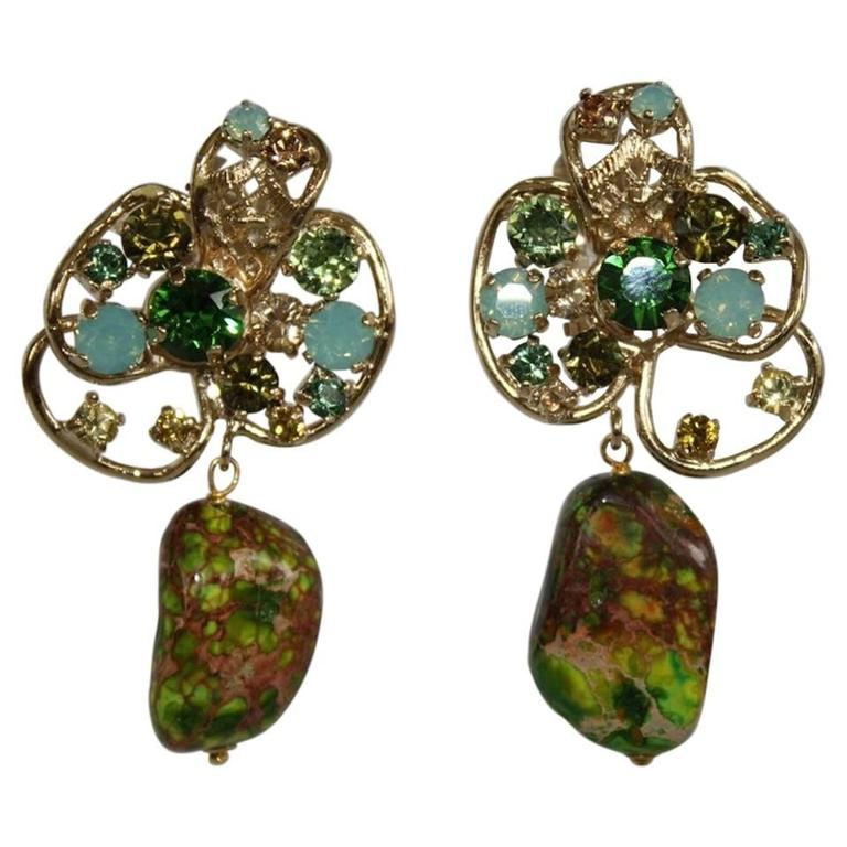 Philippe Ferrandis One Of A Kind Malachite And Swarovski Crystal Clip Earrings For