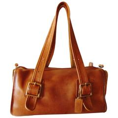 Bonnie Cashin for Coach Distressed Saddle Leather Double Header Tote Bag 1970s