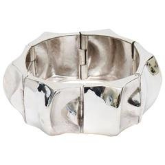 Signed Sirokoro Sterling Silver Sculptural Cuff Bracelet
