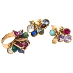 Set of Vintage Dangler Cluster Jewel Colored Glass Stone Earrings and Ring Set