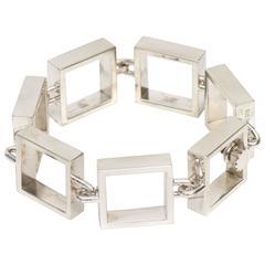 Signed Hans Hansen Square Link Sterling Silver Sculptural Bracelet