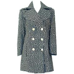 60s Cotton Black & White OP ART Double Breasted Jacket