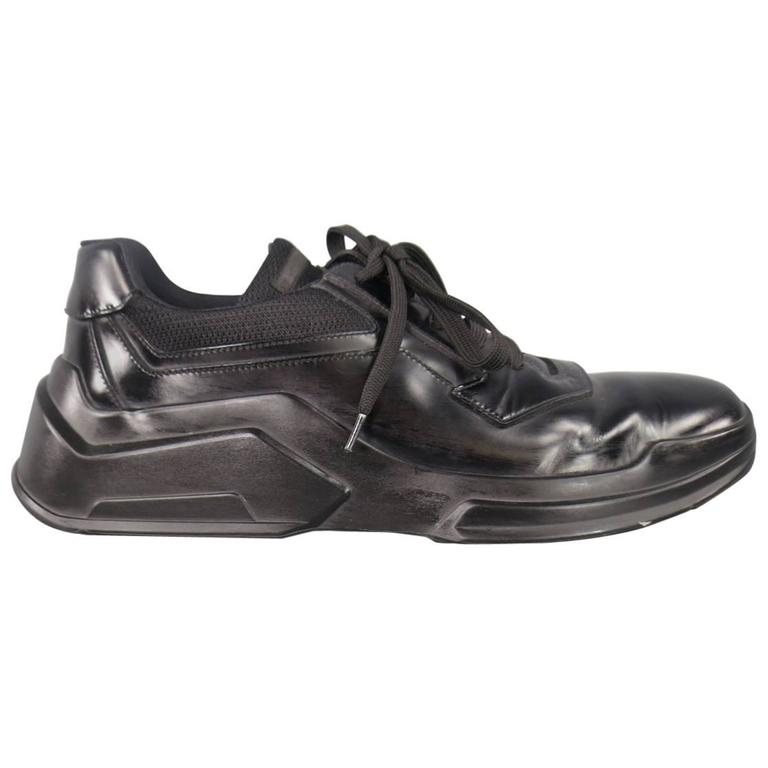 Men's PRADA Size 11 Black Leather Thick Rubber Sole Lace ...