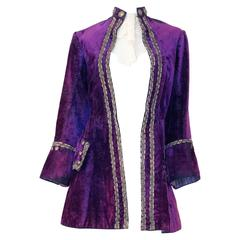 Edwardian Purple Velvet Louis XIV Pirate Prince Jacket with Jabot