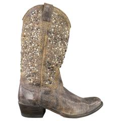 Men's FRYE Size 11 Distressed Taupe Studded Leather Deborah Cowboy Boots