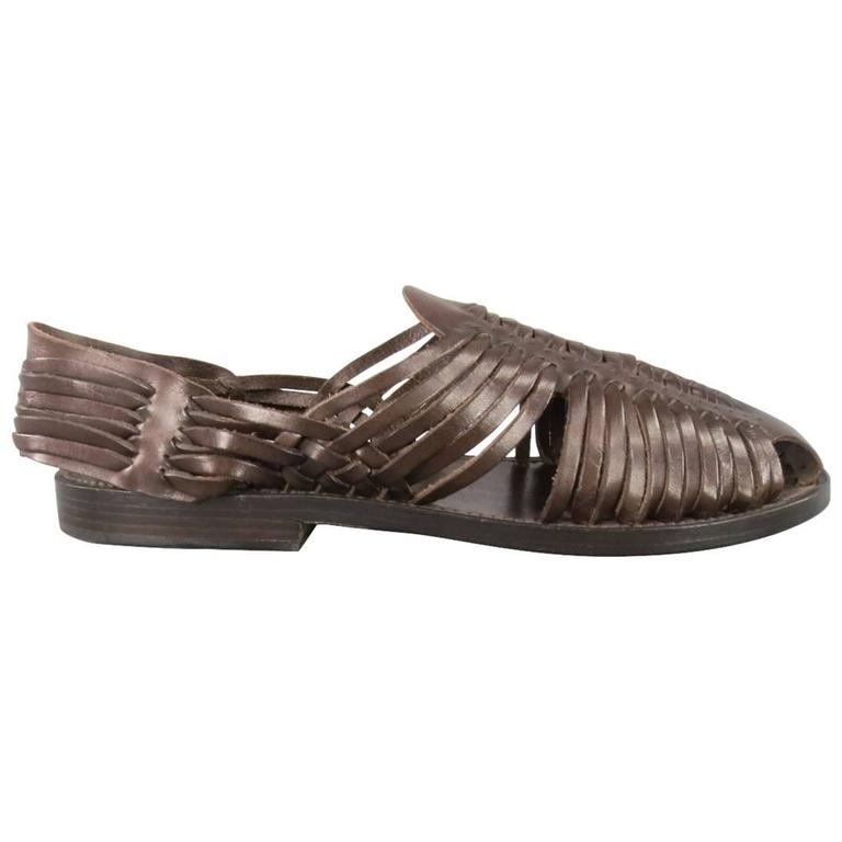 4f5bae844d25 Men s TOM FORD Size 11.5 Brown Woven Leather Closed Toe Huaraches Sandals  For Sale