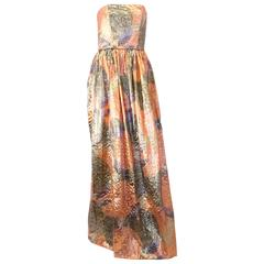 60s Peach & Silver Strapless Sequined Gown
