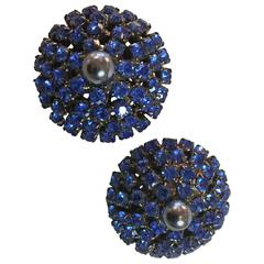 1990s VRBA Brilliant Faux Sapphire Electric Azure Clip Earrings
