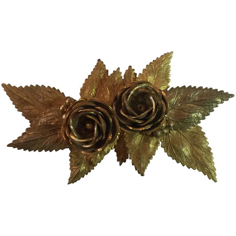 Large 1940s MIRIAM HASKELL Antiqued Goldtone Floral Brooch/ Pin For Sale