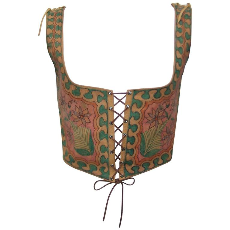 Early 1970's Char Hand Painted Leather Lace Up Corset Vest For Sale