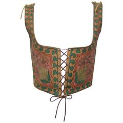 Early 1970's Char Hand Painted Leather Lace Up Corset Vest