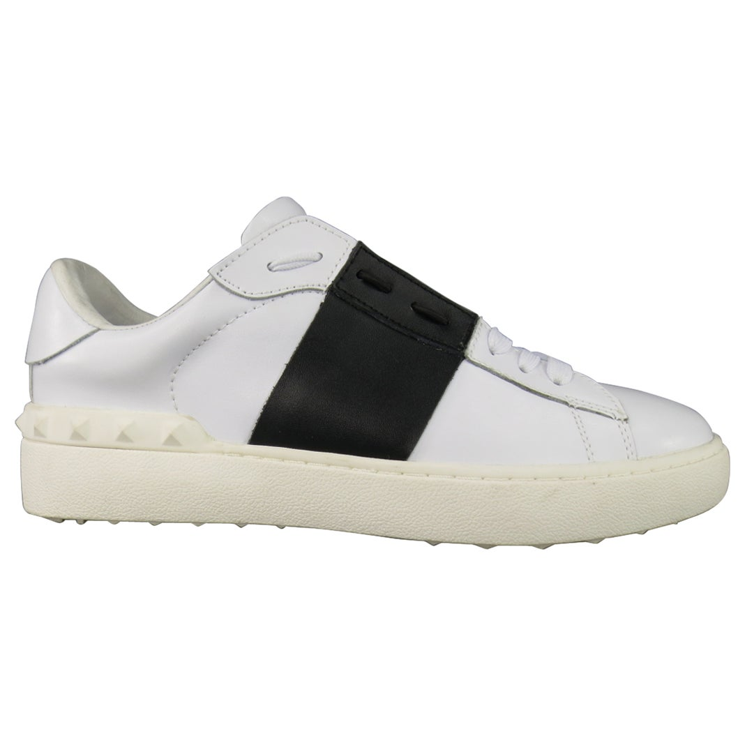 620b60dadd1 Men's VALENTINO Size 7 White & Black Leather Open Tie-Up laceless Sneakers