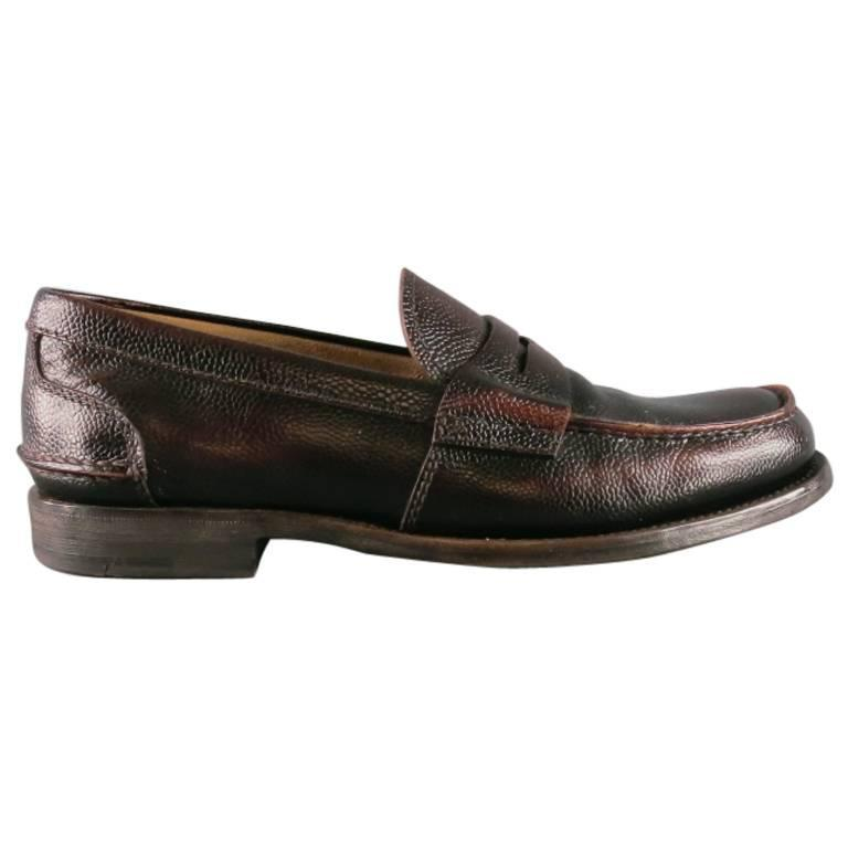 Men's PRADA Size 8 Distressed Brown Pebbled Leather Penny Loafers
