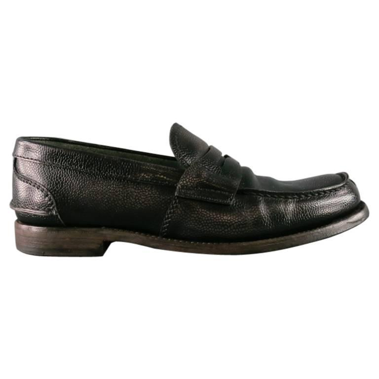 Men's PRADA Shoes - Size 8 Distressed Black Pebbled Leather Penny Loafers For Sale