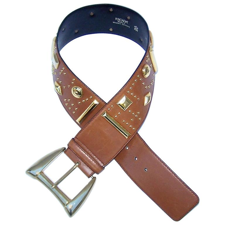 Gold Studded 1980's Escada Camel Leather Wide Belt For Sale