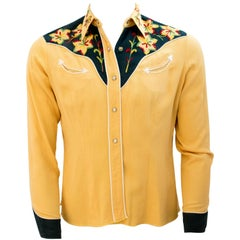 50s Mens Yellow & Green Embroidered Western Shirt