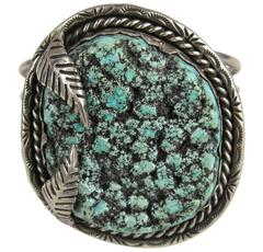 Old Pawn Navajo Sterling Sea Foam Turquoise Handcrafted cuff bracelet