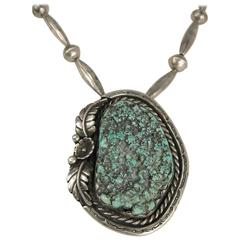 Old Pawn Native American Sea Foam Turquoise Sterling Silver Necklace Pendent