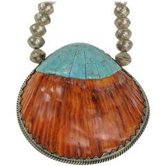 Hand Crafted Santo Domingo Sterling Silver Spiny Oyster & Turquoise Necklace