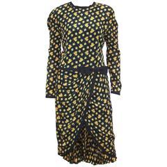 Ladylike 1980's Louis Feraud Dark Floral Dress With Micro Pleated Hem