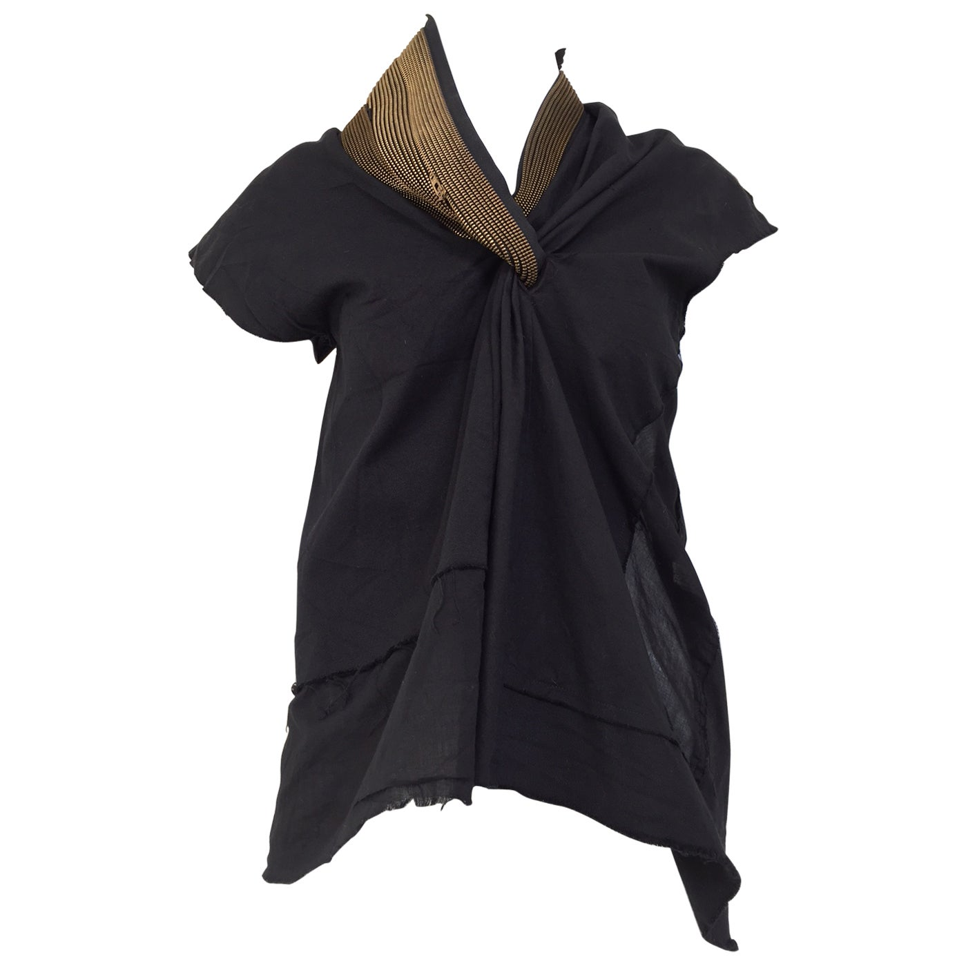 JUNYA WATANABE  Black Deconstructed Cotton Blouse with Asymetrical zipper collar