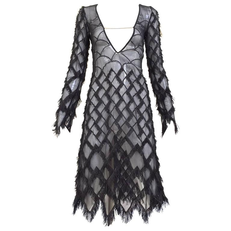 90s Versus black silk sheer eyelash fringe dress For Sale