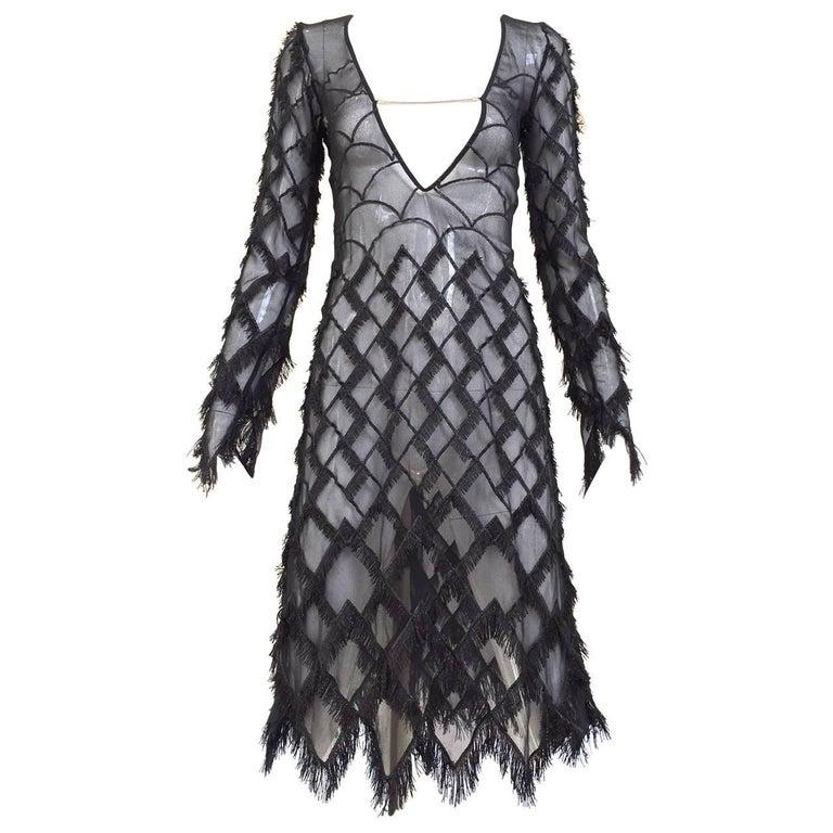 1990s Versace Versus Black Silk  Cocktail Dress For Sale
