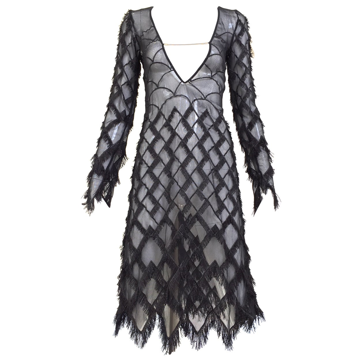 1990s Versace Versus Black Silk  Cocktail Dress