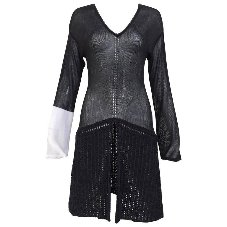 Gianfranco Ferre black knit tunic top, 1980s