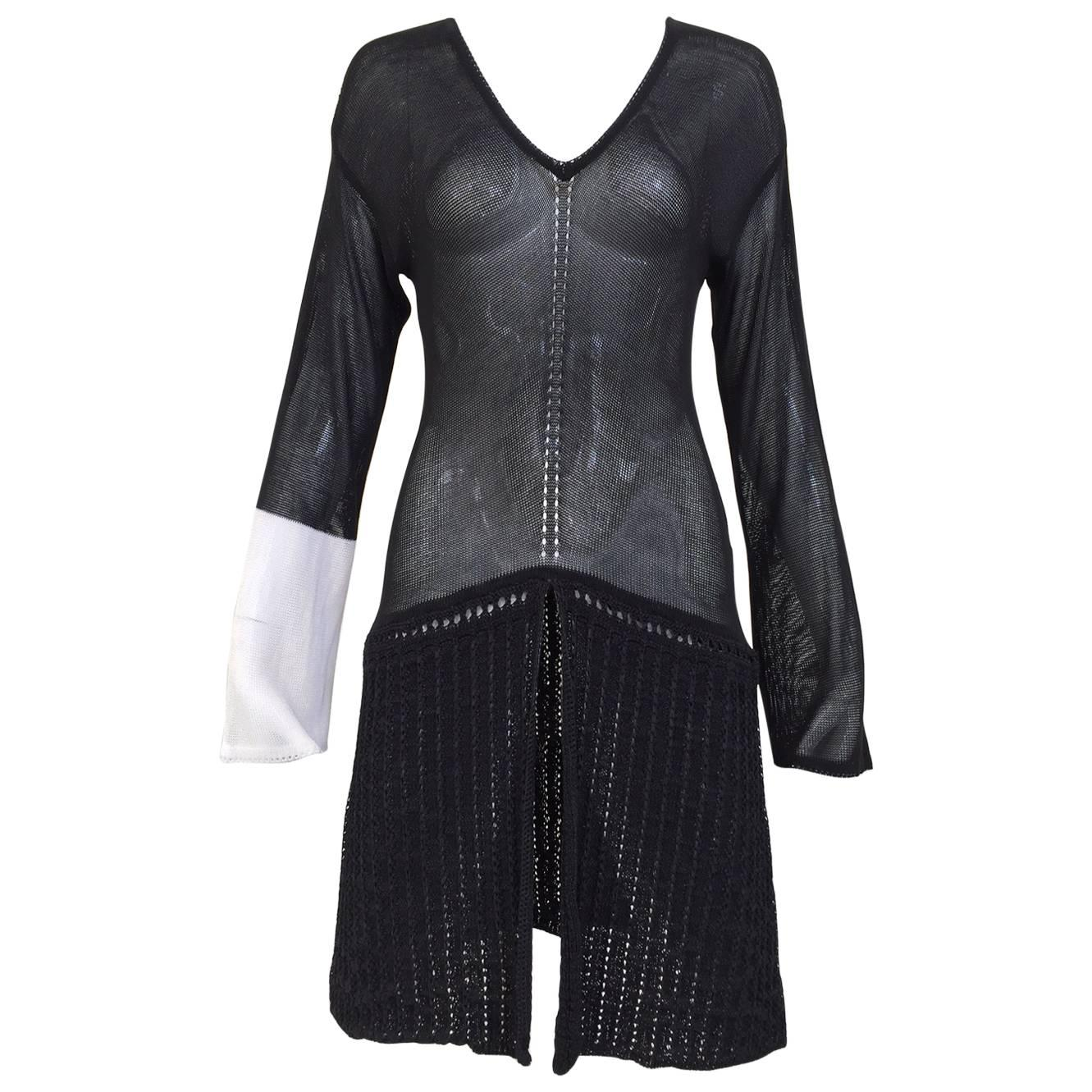 Gianfranco Ferre black knit tunic top, 1980s
