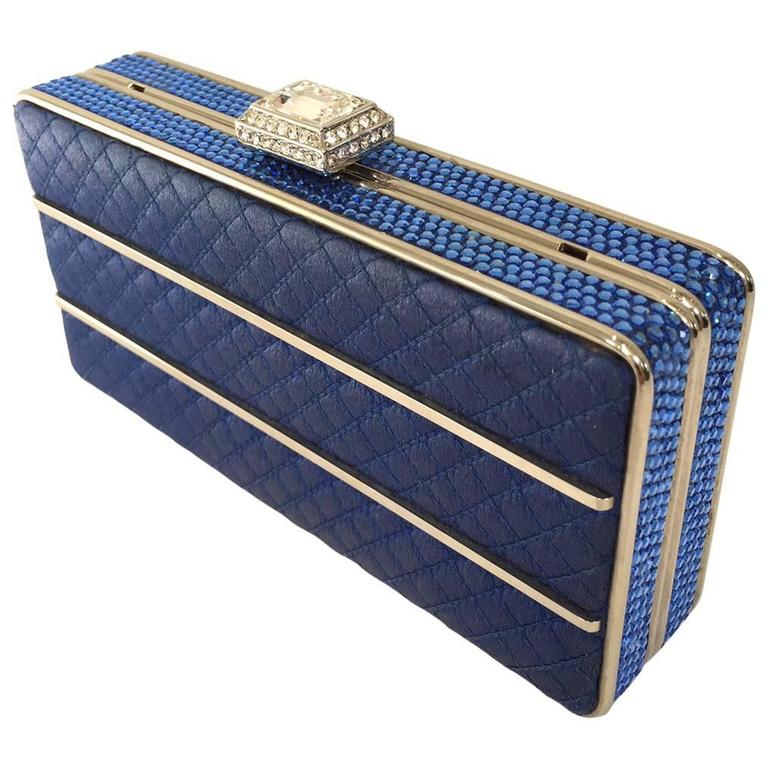 Judith Leiber blue satin evening clutch 1