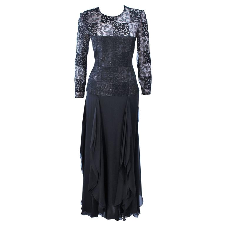 CAROLINA HERRERA Black Metallic Lace and Chiffon Gown Size 12