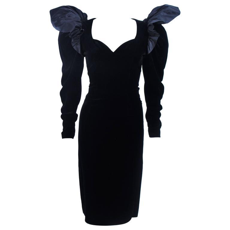 LANVIN Black Dramatic Velvet Cocktail Dress Size 6