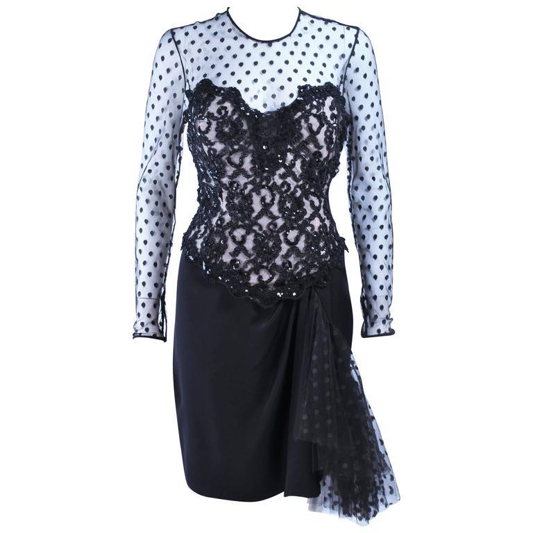 AFTER FIVE I. MAGNIN Black Silk Polka Dot Mesh Sequin Lace Cocktail Dress 6