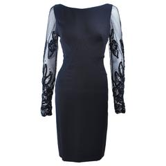 SYDNEY NORTH Black Silk Cocktail Dress with Sequin Mesh Sleeves Size 6 8